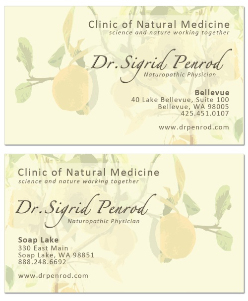 naturopathic physician Sigrid Penrod's business card